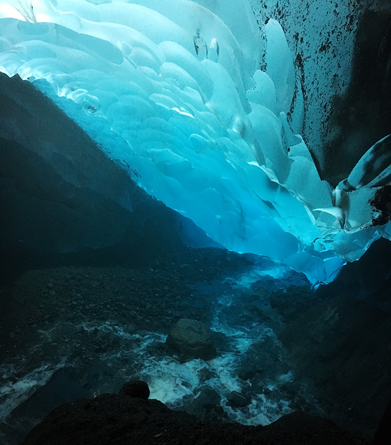 Ice cave at Mendenhall Glacier.