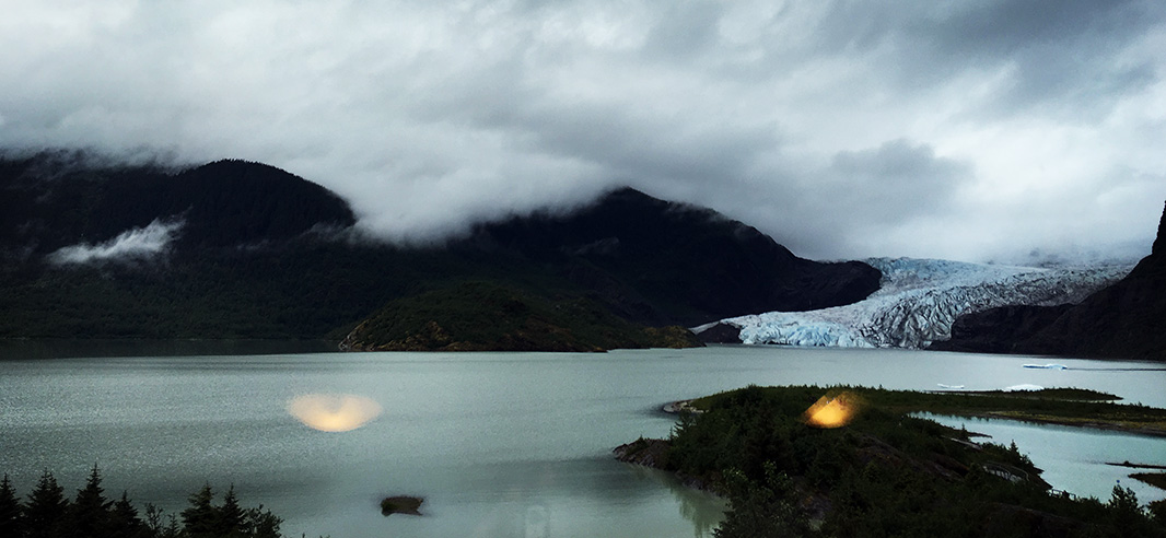 From behind the Visitor's Center's glass windows, which once overlooked Mendenhall Glacier.