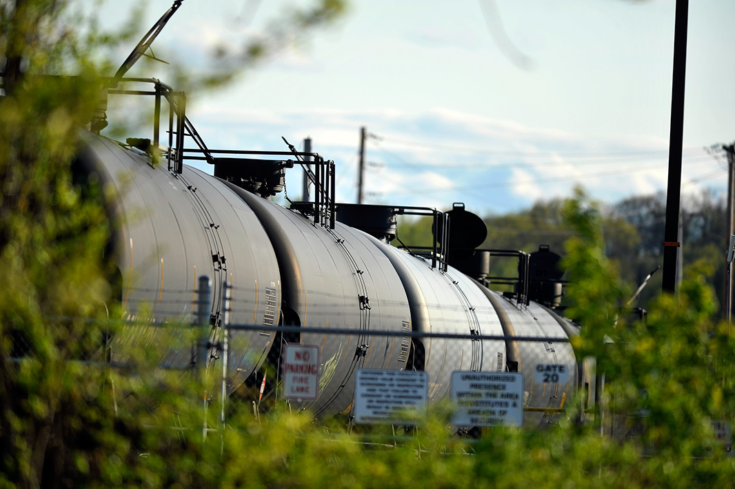 Railroad tank cars in the Kenwood Rail Yard near the Port of Albany and Interstate 787.