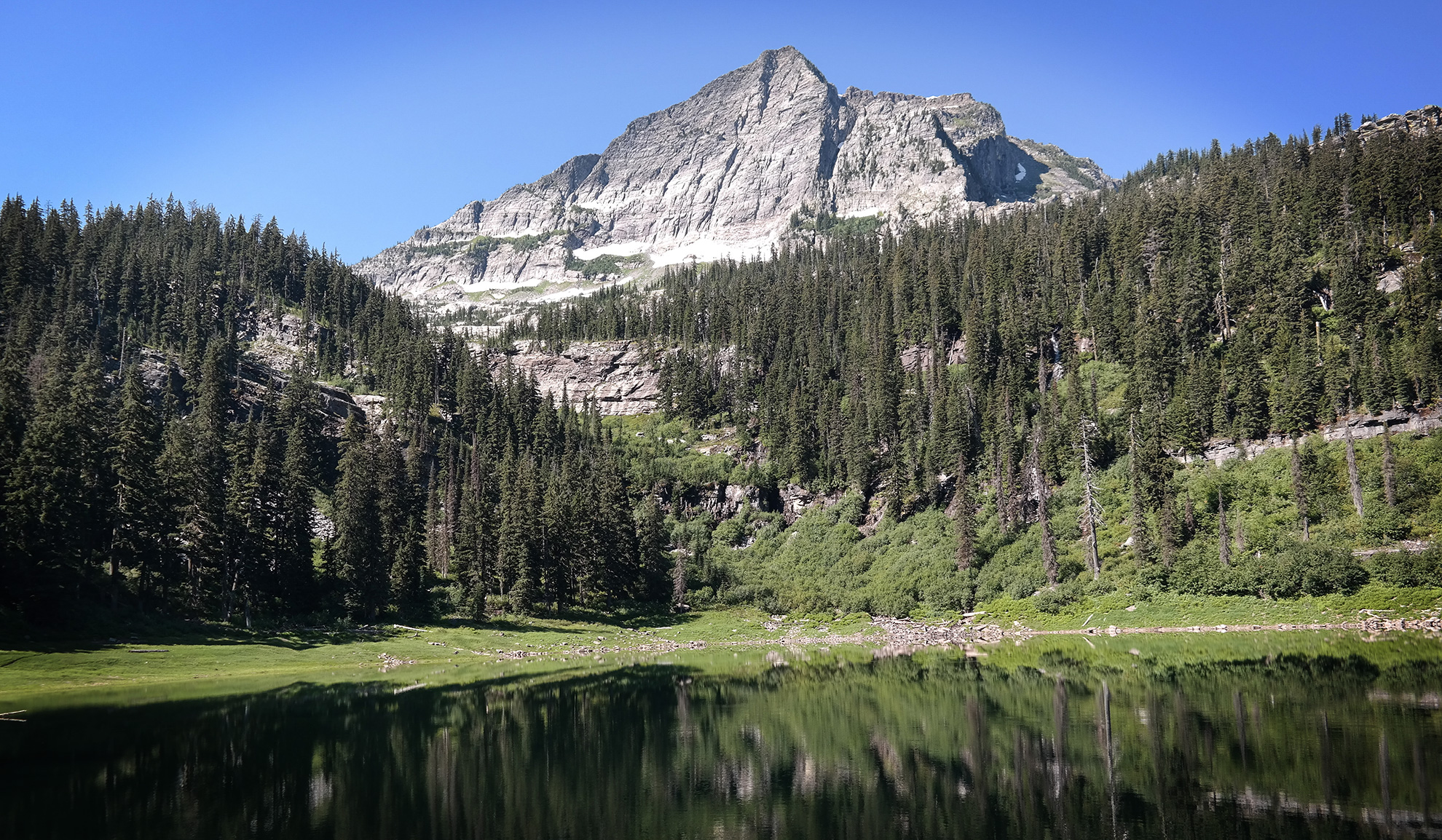 Saint Paul Lake in the Cabinet Mountains Wilderness, in July 2016.