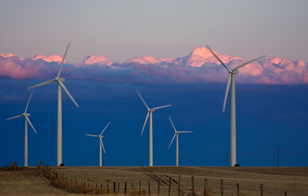 The Cedar Creek wind farm in Colorado, against a backdrop of stratocumulus clouds.