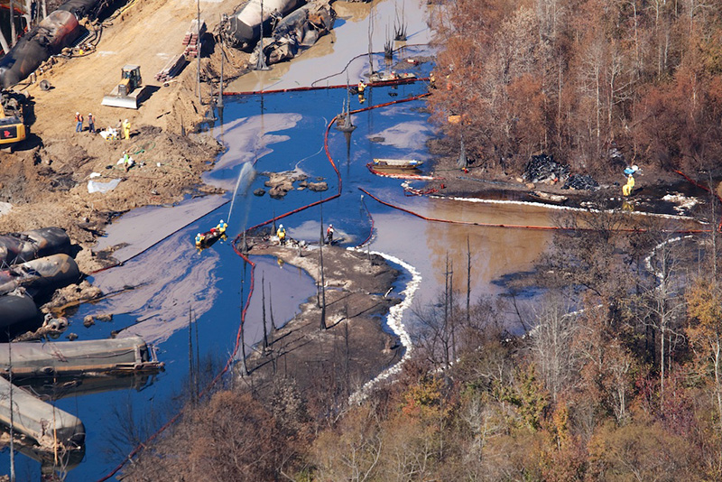 Clean-up operations after an oil train exploded near Aliceville, Alabama, in 2014.