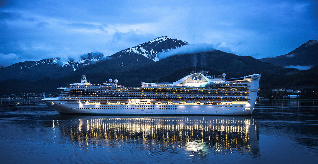 A cruise ship, docked at Juneau.