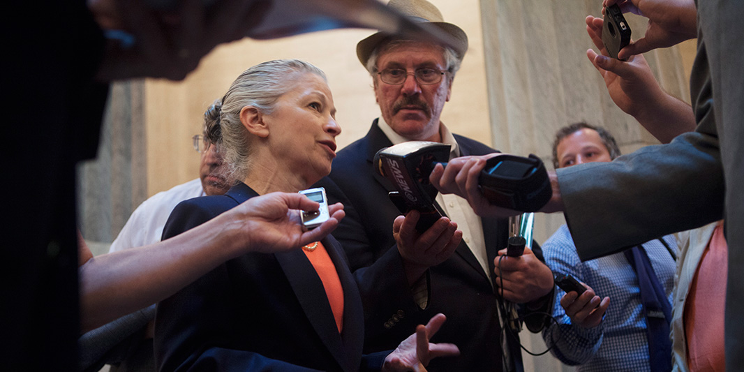 Goldberg speaks to reporters following oral arguments at the New York State Court of Appeals in the Dryden case.