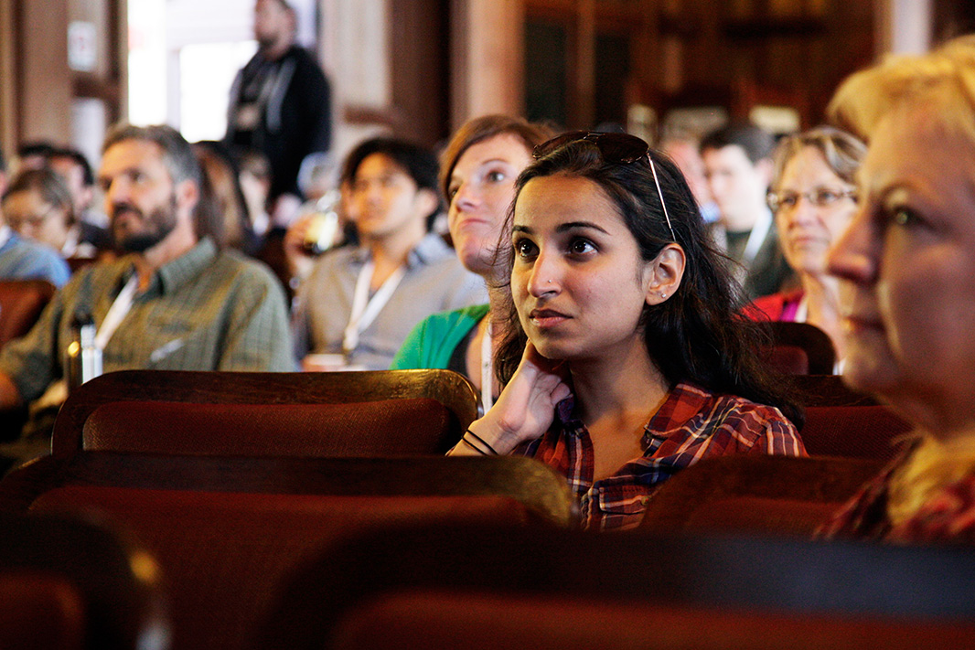 Earthjustice employees listen to a plenary session at an all-staff meeting in Asilomar, California.