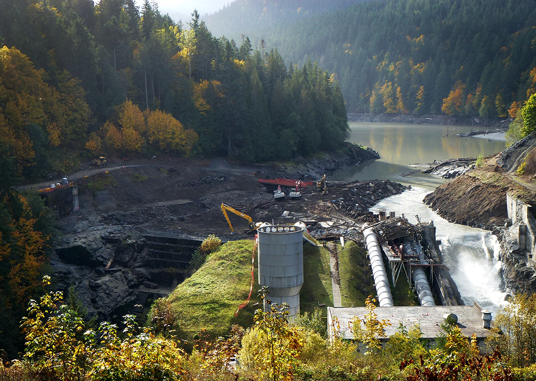 Removal of the Elwha Dam, October 23, 2011.
