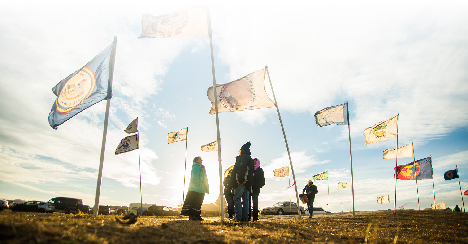 Flags fly at the Oceti Sakowin Camp, near Cannonball, North Dakota.