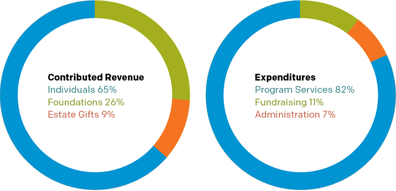Charts: Contributing Revenues and Expenditures.