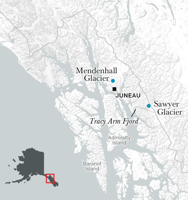 Map of Juneau and the glaciers.
