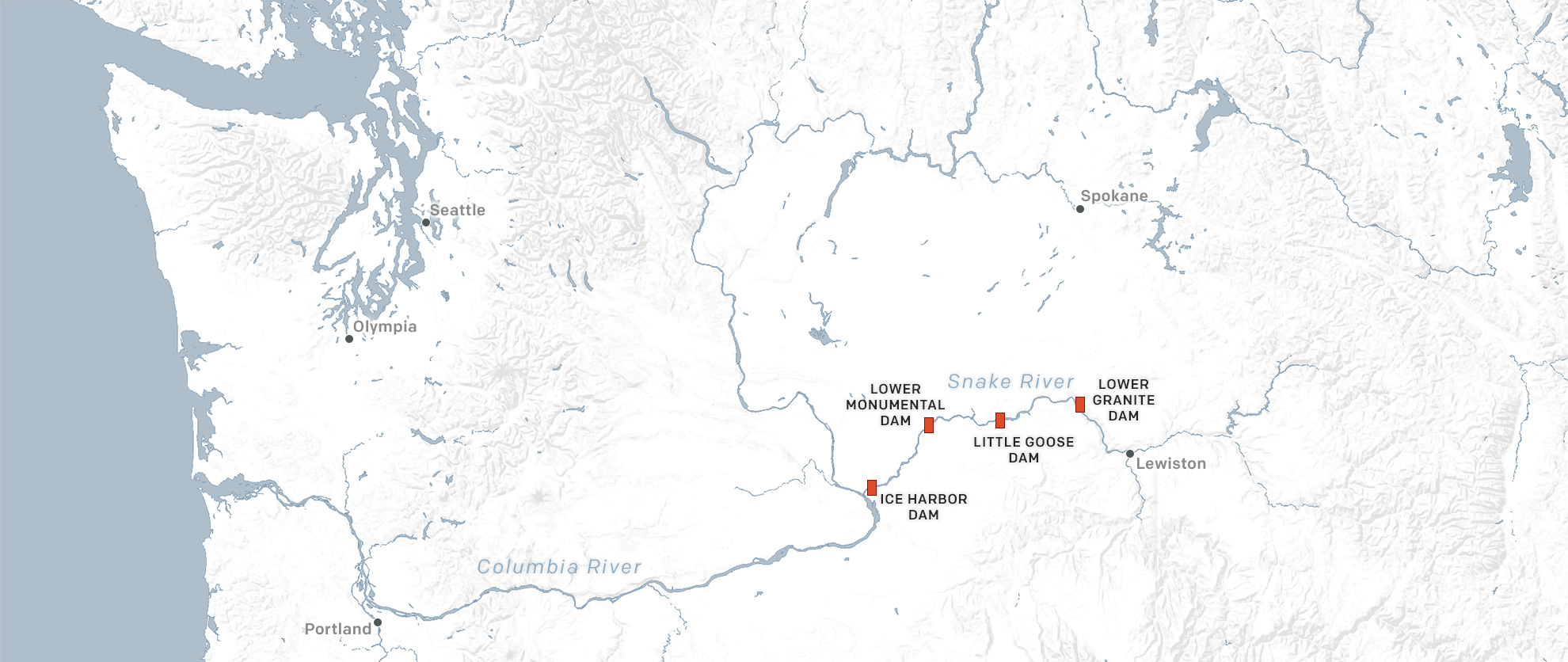 Map of the four lower Snake River Dams.