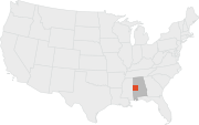 Location of Uniontown, Alabama.