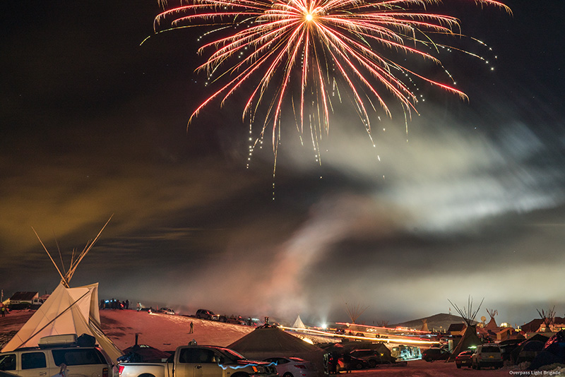 Fireworks light the night sky over the Oceti Sakowin camp on December 4.