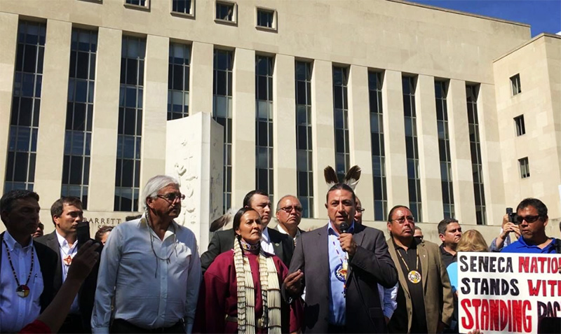 Standing Rock Sioux Tribe Chairman Dave Archambault II speaks following a court hearing in Washington, D.C., on August 27.