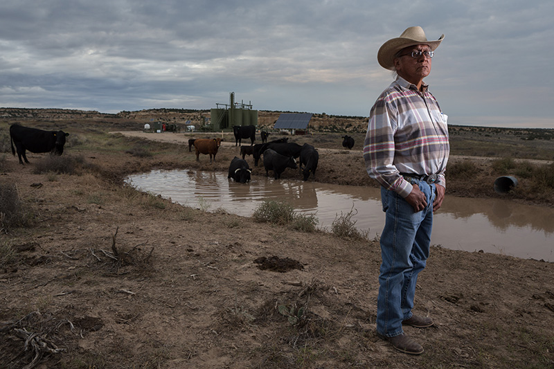 Navajo community leader Daniel Tso, outside of Counselor, New Mexico, in the San Juan Basin. Oil and gas operations have encroached more and more on his community's tribal lands.
