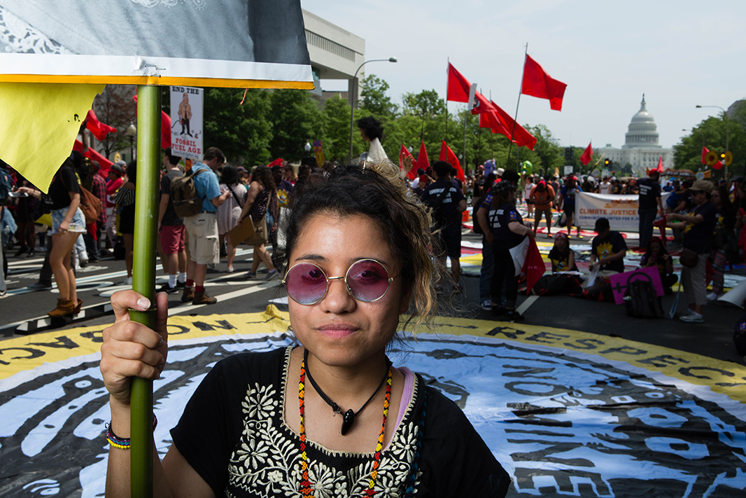 Yudith Nieto at the Peoples Climate March. Nieto is an environmental justice advocate who monitors air quality in her community of Manchester in Houston, Texas. Manchester sits in the shadow of an oil refinery and Nieto and her neighbors are fighting to clean up the air.