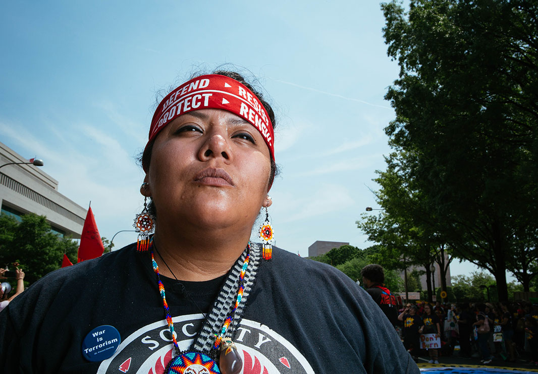 Kiani Naranjo, who is part of a pipeline resistance camp in West Texas, at the start of the Peoples Climate March.