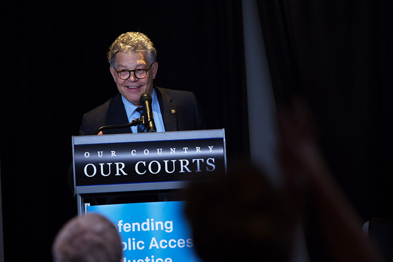 Sen. Al Franken (D-Minn.) headlines the Our Country, Our Courts event, Nov. 2, 2017.