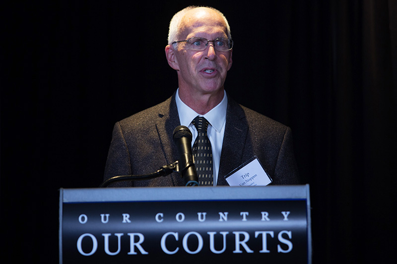 Trip Van Noppen, Earthjustice president, delivers opening remarks at the Our Country, Our Courts event, Nov. 2, 2017.