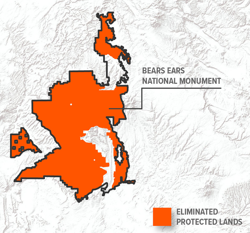 Map comparing original and shrunk boundaries of Bears Ears National Monument.