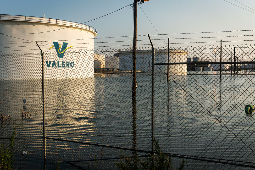 The flooded Valero oil refinery in Port Arthur, Texas, on Sept. 1, 2017.