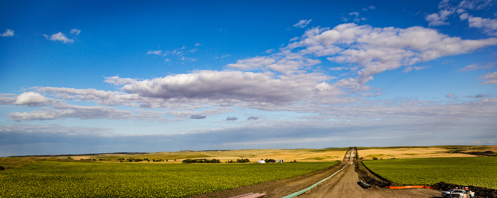 Construction of the Dakota Access Pipeline near New Salem, North Dakota, on August 25, 2016.