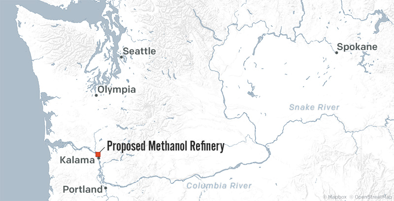 Area map of the proposed methanol refinery.