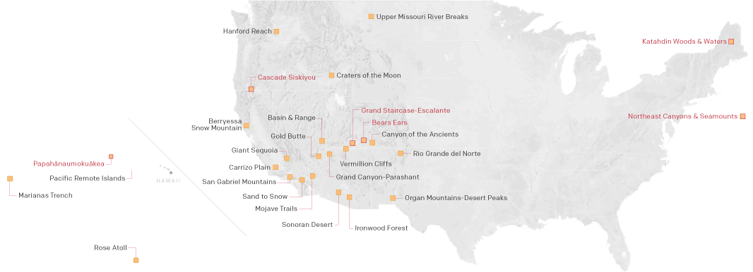 Map of national monuments under review.