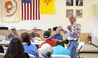 Navajo Chairman Daniel Tso speaks out against fracking at a Bureau of Land Management meeting that was required under the National Environmental Policy Act.