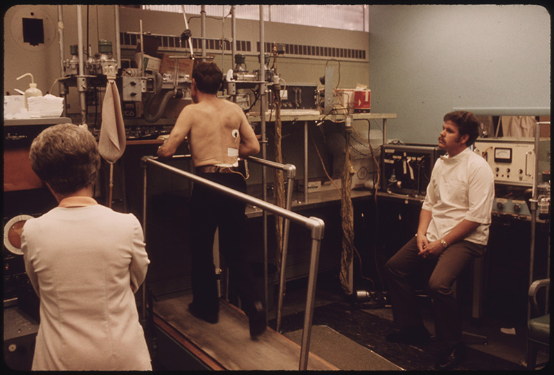 June, 1974: Miner in the Black Lung Laboratory at the Appalachian Regional Hospital undergoing tests while on a treadmill in Beckley, West Virginia.