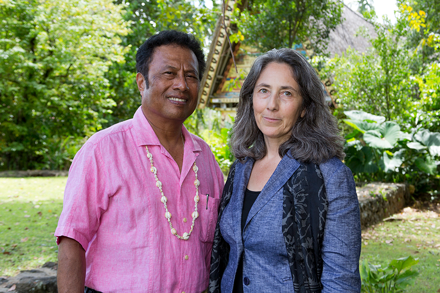 Erika Rosenthal and President Remengesau in Palau.