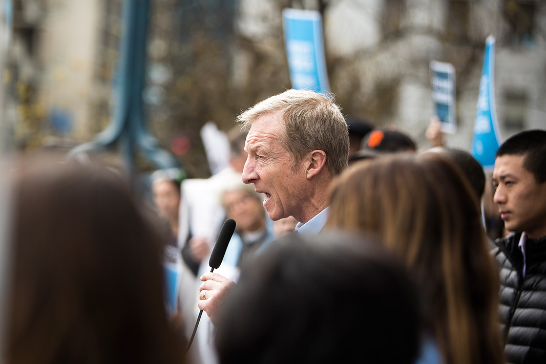 Tom Steyer, an environmental philanthropist, spoke outside the hearing in San Francisco.