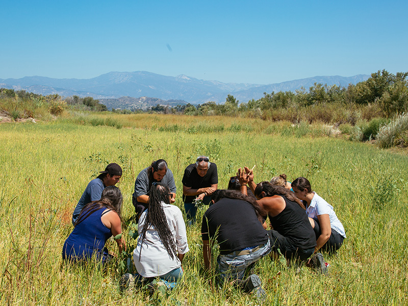 Members of the indigenous led non-profit the Wishtoyo Foundation gathered with Earthjustice and other local indigenous community members in Santa Paula, Calif., in opposition to a proposed power plant.