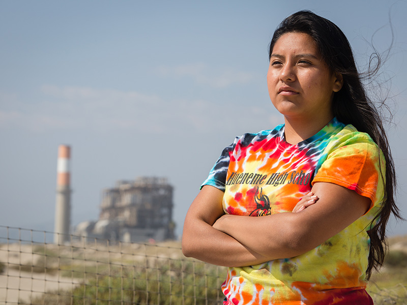 Lilian Bello spoke against a proposed natural gas plant in Oxnard, California, that, if allowed, would join three existing gas plants on the city's beach.