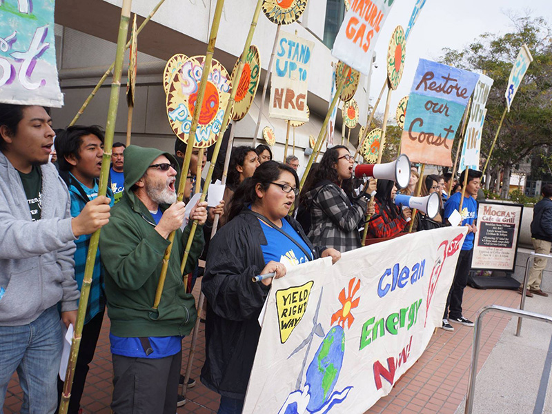 Oxnard residents protest NRG Energy's proposed Puente power plant. The 262-megawatt gas-fired plant would have increased pollution in the already-overburdened community.