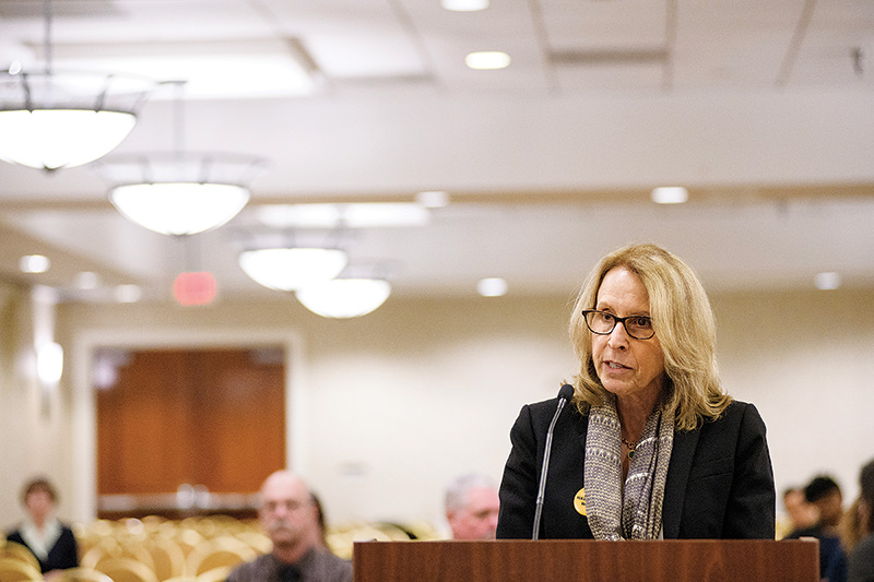 Earthjustice attorney Lisa Evans urged the EPA to maintain restrictions on coal ash disposal at a public hearing in March.