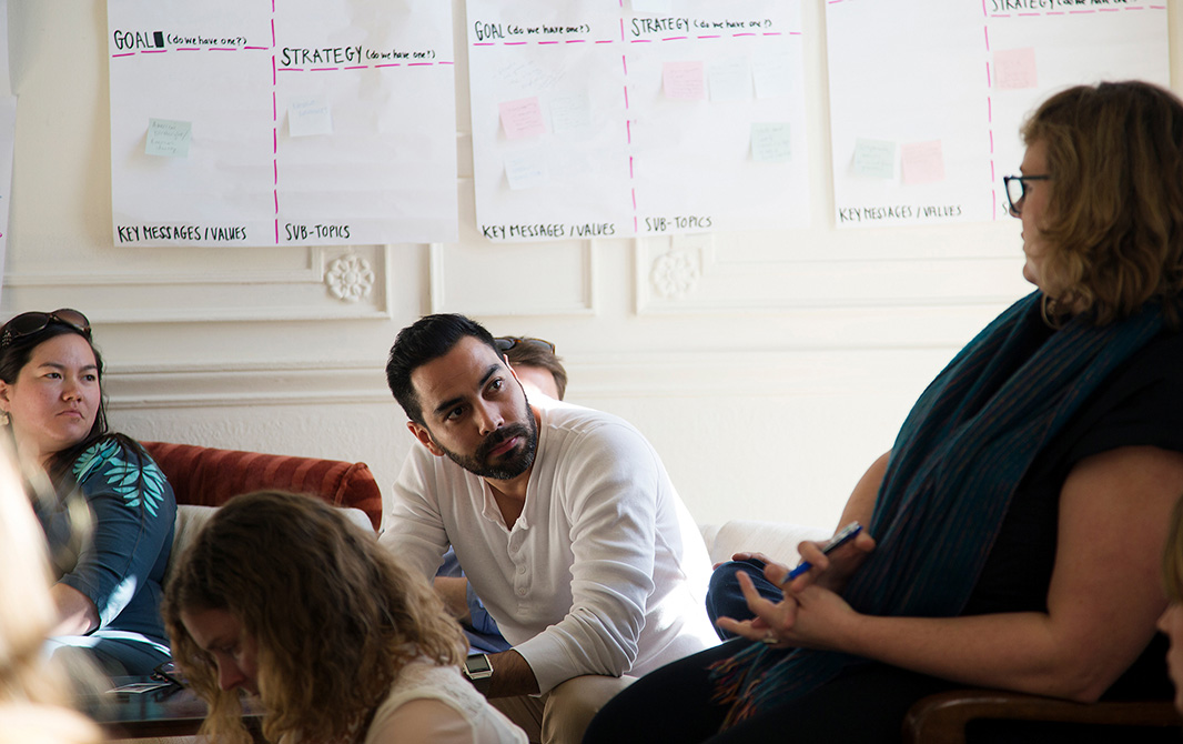 From right: Regional Communications Strategist Zoe Woodcraft, National Communications Strategist Alejandro Dávila Fragoso, and then-Internal Communications Coordinator Rebekah Olstad attend an off-site work retreat in Oakland, California.