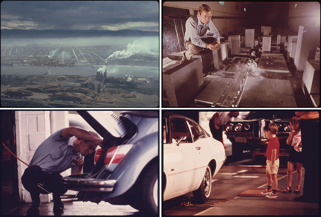 Documerica photos from the U.S. Environmental Protection Agency showcase the choking smog problems the country faced, and early attempts to put cleaner cars on the roads in the 1970s
