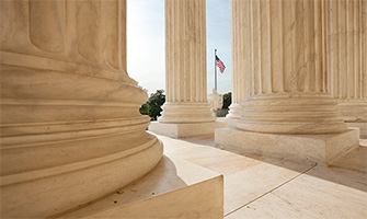 A view of an American flag from the U.S. Supreme Court in Washington, D.C.