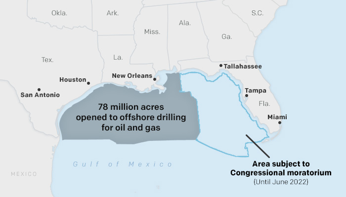 The agency is offering essentially all available, unleased acreage in the Gulf that is not subject to a congressional moratorium — everything but the continental shelf off the Florida coast.