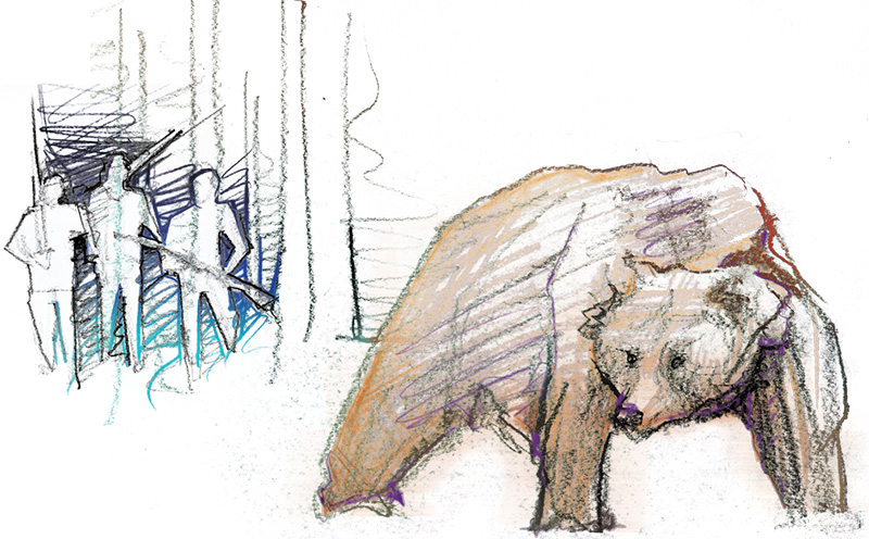 Illustration of a grizzly hunt