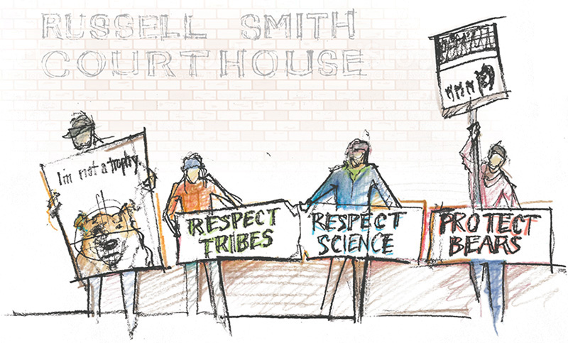 Illustrations of demonstrators.