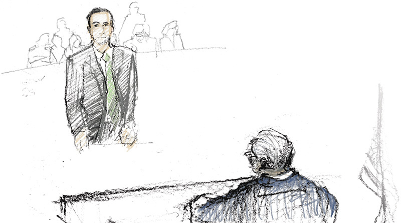 Illustration of Attorney Preso before Judge Christensen.
