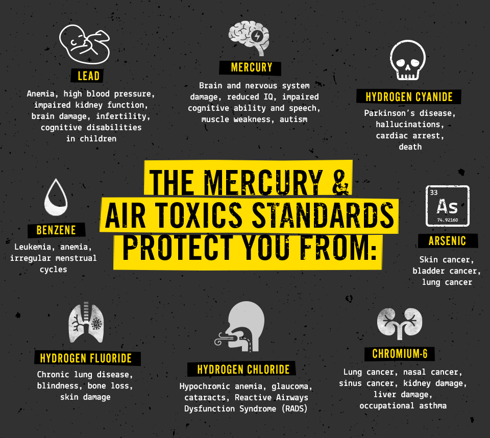 Infographic explaining the types and impacts of pollutants that the Mercury & Air Toxics Standards protect humans from.