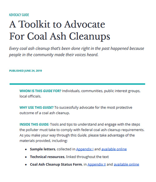 A Toolkit to Advocate for Coal Ash Cleanups.
