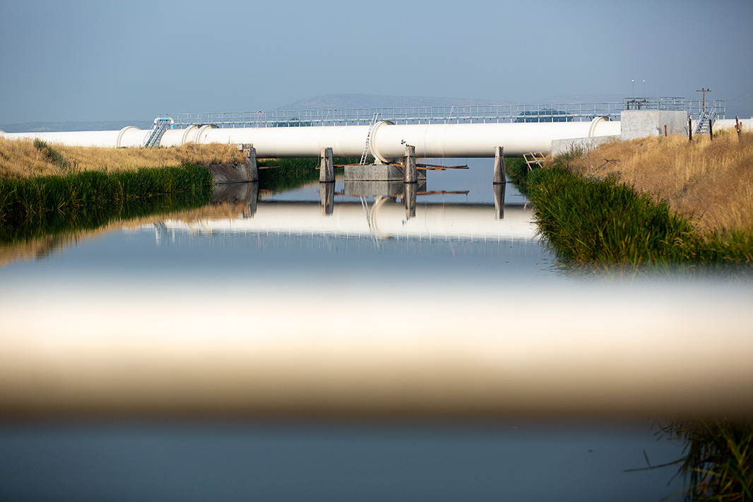 Irrigation canals feed large-scale agricultural in the Klamath Basin.