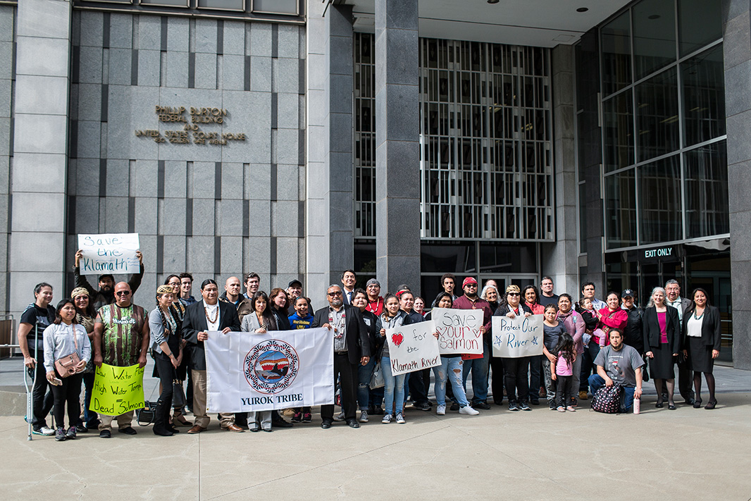 Yurok Tribe members and allies outside Burton Federal Building in San Francisco on Apr. 10, 2018.
