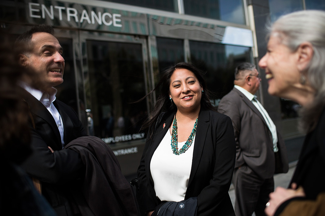 Earthjustice attorneys Stephanie Tsose (center), Patti Goldman (right), and Drew Caputo outside the Burton Federal Building in San Francisco on Apr. 10, 2018.