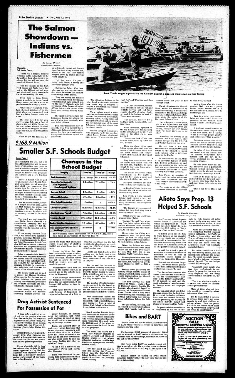 Coverage of the Klamath Salmon Wars in the San Francisco Chronicle, August 12 1978.