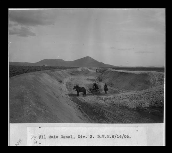 Main Canal of the Klamath Irrigation Project under construction on June 6, 1906.