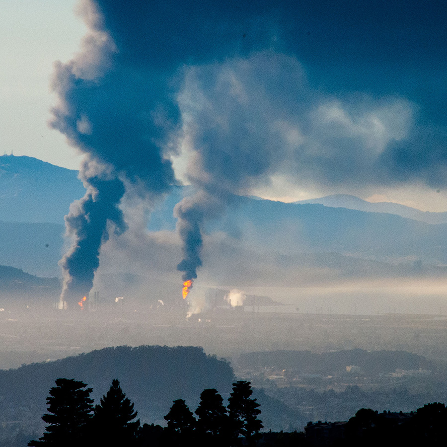 An industrial incident caused a massive fire at the Chevron oil refinery in Richmond, Calif., on Aug. 5, 2012.